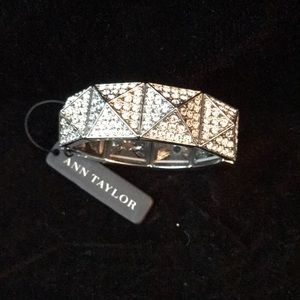 Ann Taylor Faux Silver and Crystal Bracelet